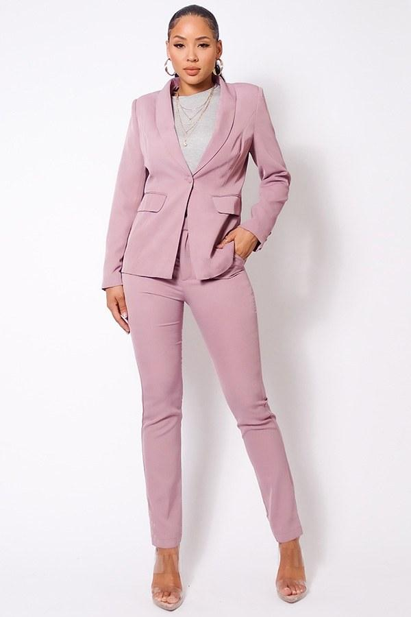 Blazer Jacket & Tapered Trouser Set - Mauve - WOMEN MATCHING SETS - NIGEL MARK