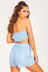 Blue Eyelet High-Waisted Shorts - BOTTOMS - NIGEL MARK