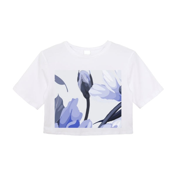 Blue Flower Crop Top - Women's Clothing - NIGEL MARK