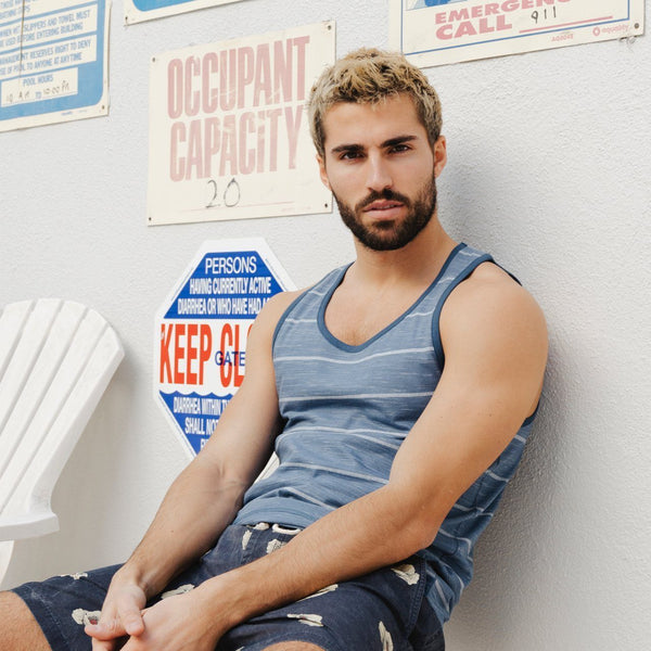 Blue Horizontal Striped Tank Top - MEN TOPS - NIGEL MARK