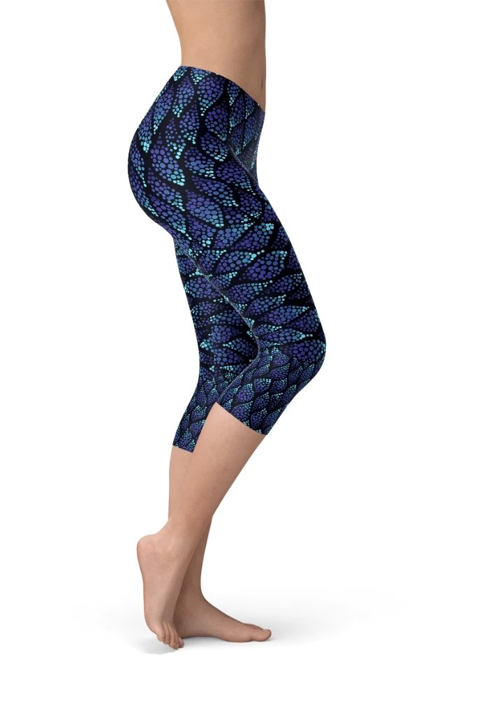 Blue Mermaid Capri Leggings - BOTTOMS - NIGEL MARK