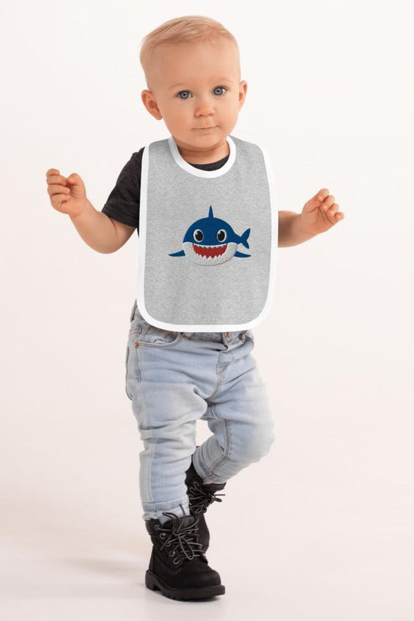 Blue Shark Embroidered Bib - NM BRANDED - NIGEL MARK
