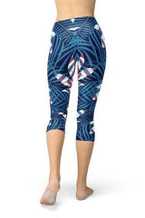Blue Tropical Leaf Capri Leggings - BOTTOMS - NIGEL MARK