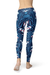 Blue Tropical Leaf Leggings - BOTTOMS - NIGEL MARK