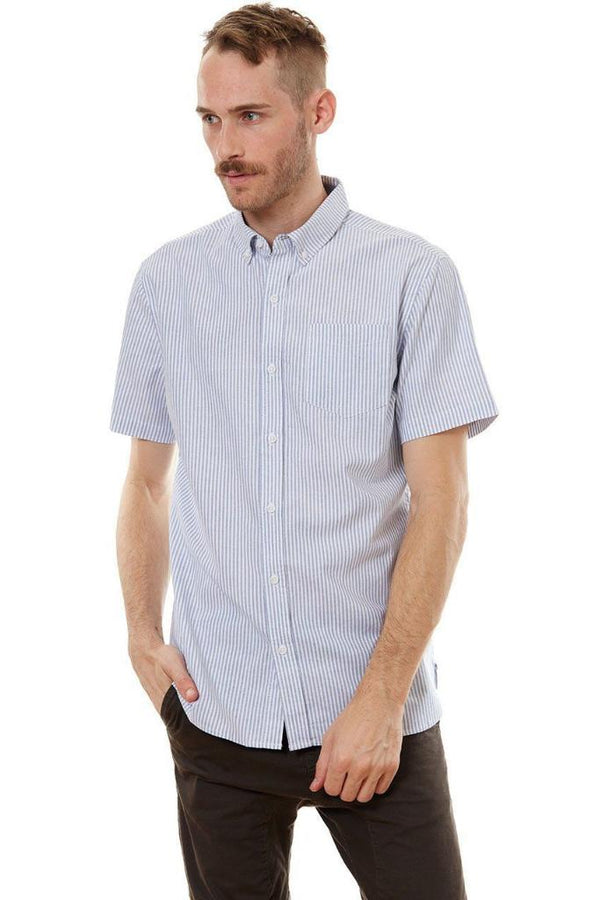 Blue Vertical Striped Shirt - MEN TOPS - NIGEL MARK