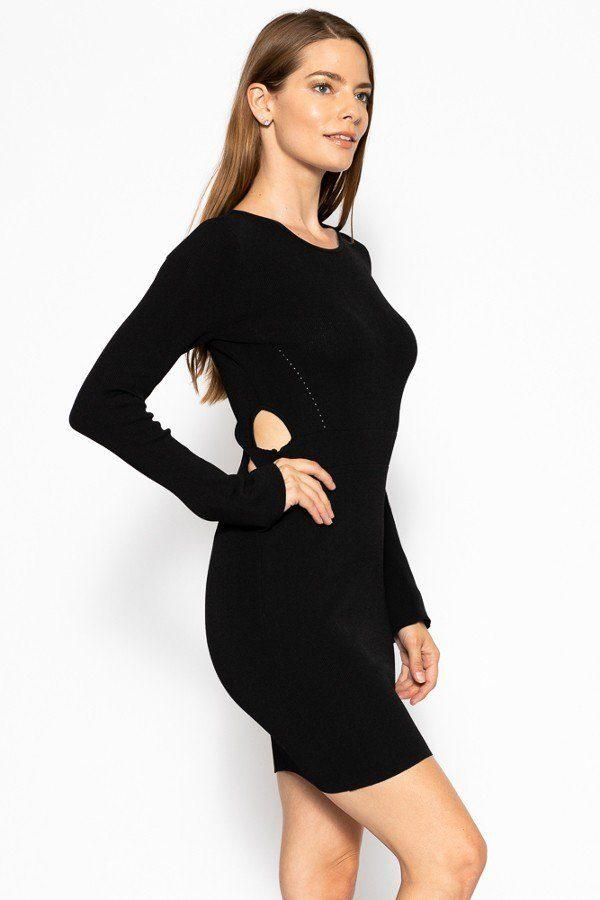 Bodycon Knit Dress Sweater Dress - Black - DRESSES - NIGEL MARK