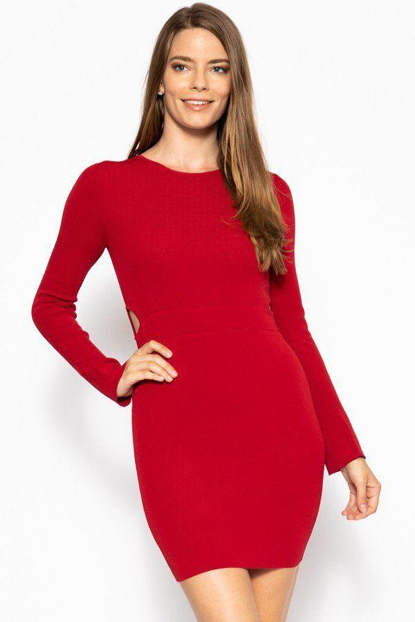 Bodycon Knit Dress Sweater Dress - Red - DRESSES - NIGEL MARK