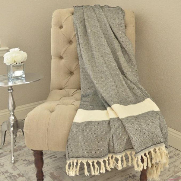 Bohemian Bamboo Blanket - Grey - BEDROOM - NIGEL MARK