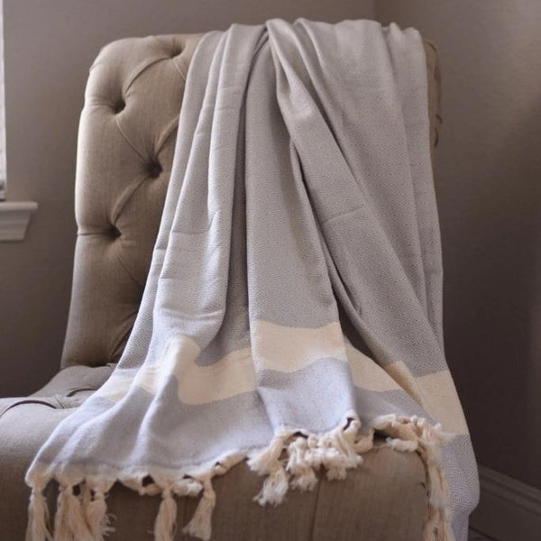 Bohemian Bamboo Blanket - Light Grey - BEDROOM - NIGEL MARK