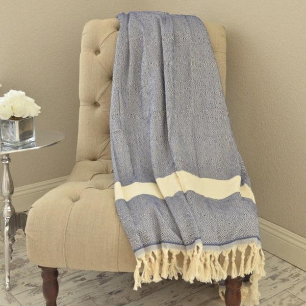 Bohemian Bamboo Blanket - Navy - BEDROOM - NIGEL MARK