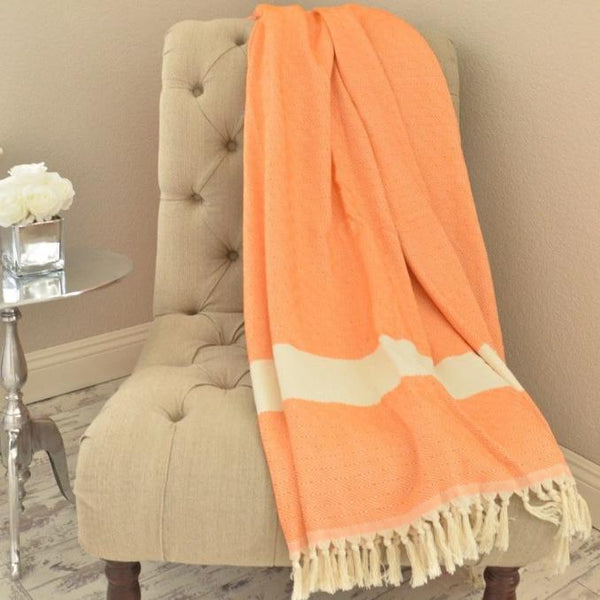 Bohemian Bamboo Blanket - Orange - BEDROOM - NIGEL MARK