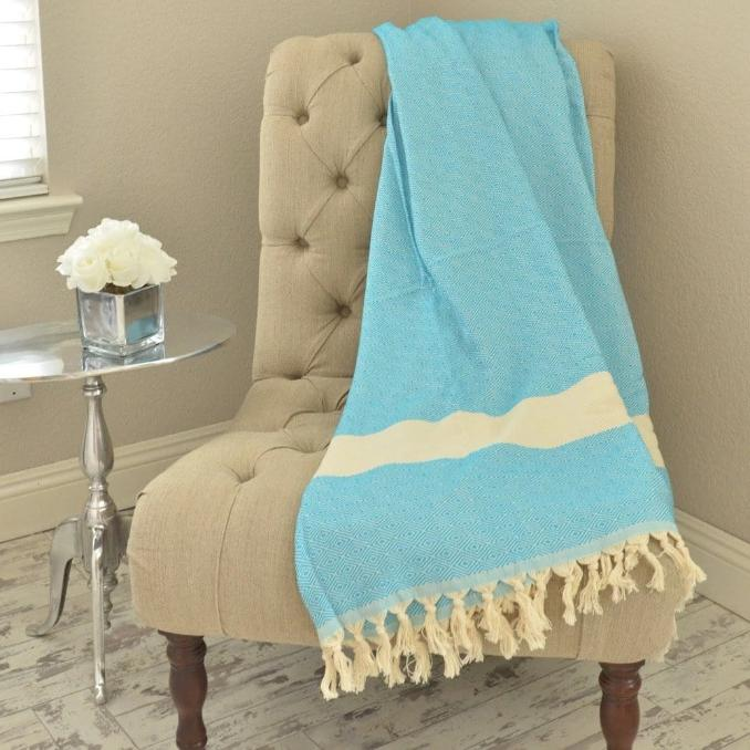 Bohemian Bamboo Blanket - Turquoise - BEDROOM - NIGEL MARK
