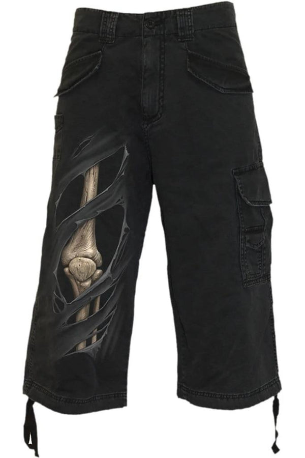 BONE RIPS - Vintage Cargo Shorts 3/4 Long Black - MEN SHORTS - NIGEL MARK