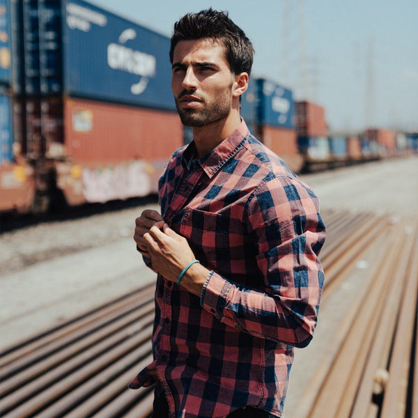 Bright Red Plaid Button Down Shirt - Men's Clothing - NIGEL MARK