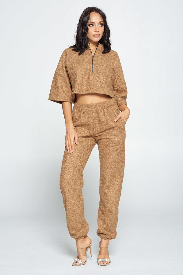 Brown Top And Pant Set - WOMEN MATCHING SETS - NIGEL MARK
