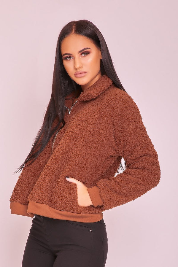 Brown Zip Up Teddy Jacket - WOMEN JACKETS - NIGEL MARK