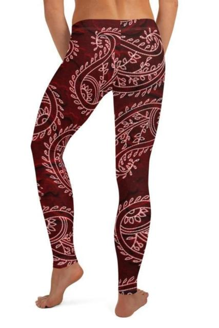Burgundy Paisley Leggings - BOTTOMS - NIGEL MARK
