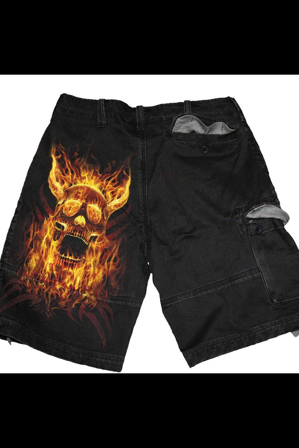 BURN IN HELL - Vintage Cargo Shorts Black - MEN SHORTS - NIGEL MARK
