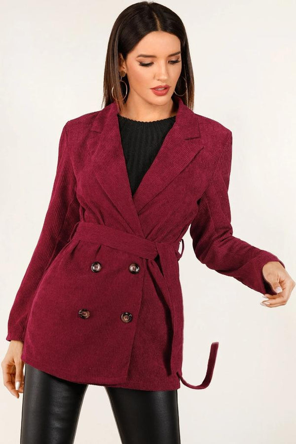 Button Belted Corduroy Blazer - WOMEN JACKETS - NIGEL MARK