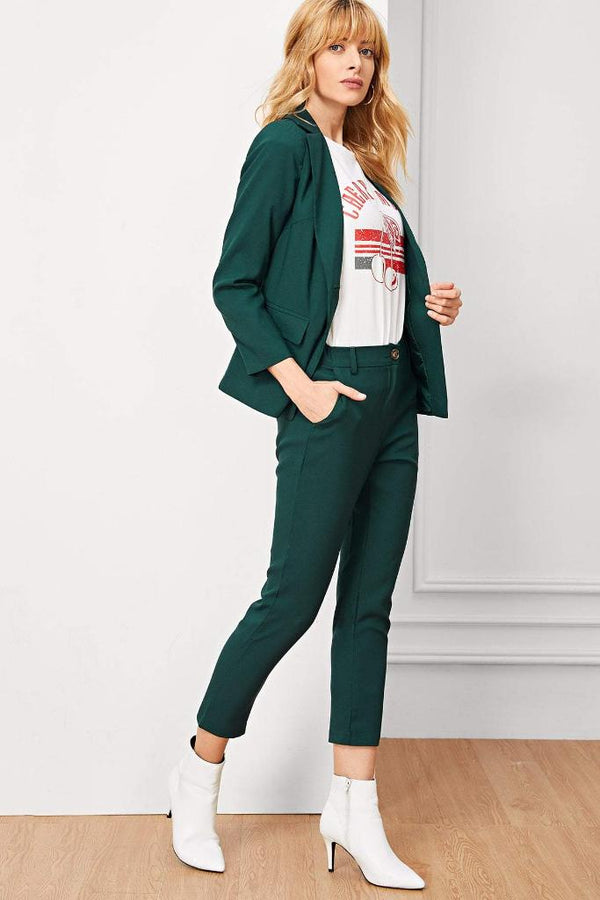 Button Collar Blazer With Pants - WOMEN MATCHING SETS - NIGEL MARK