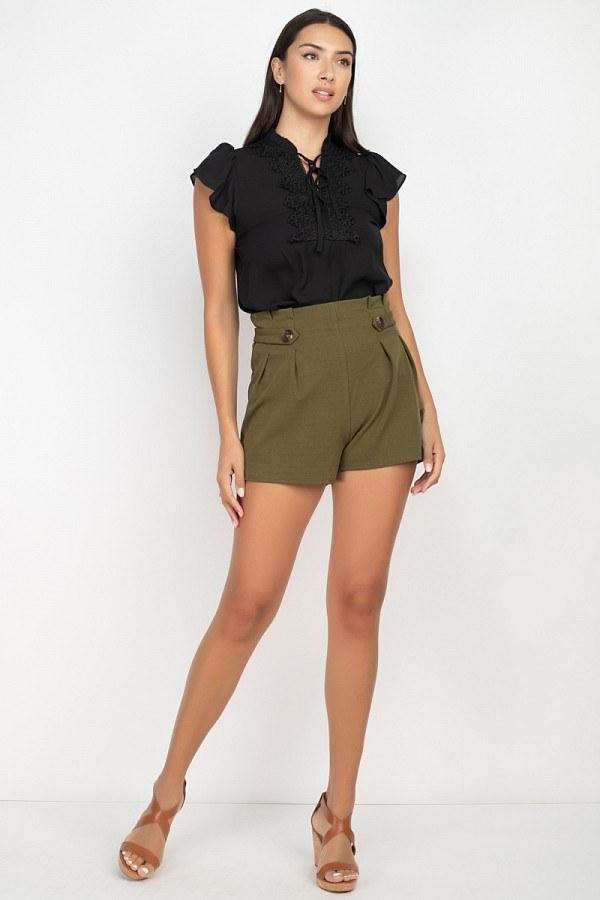 Button High Rise Shorts - Olive - WOMEN BOTTOMS - NIGEL MARK