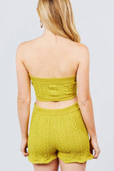 Cable Tube Top And Shorts Set - Lime - MATCHING SETS - NIGEL MARK