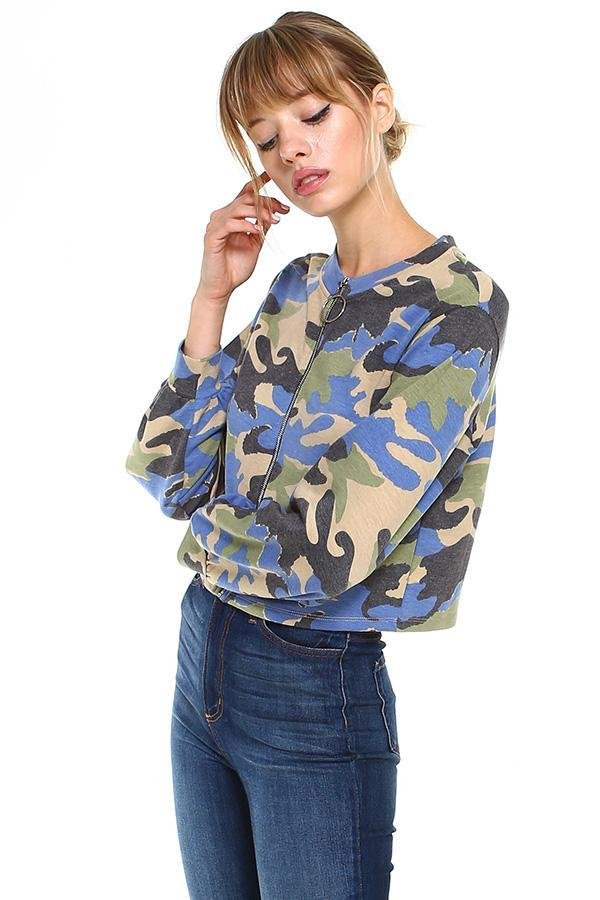 Camo Front Full Zip Light Jacket - Women's Clothing - NIGEL MARK