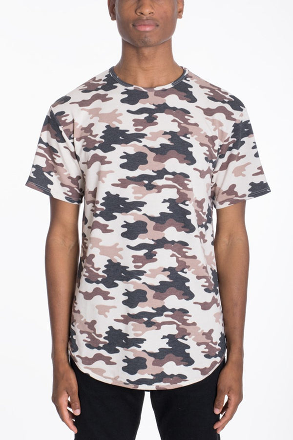 CAMO SCALLOP TEE-BROWN - T-shirts - NIGEL MARK