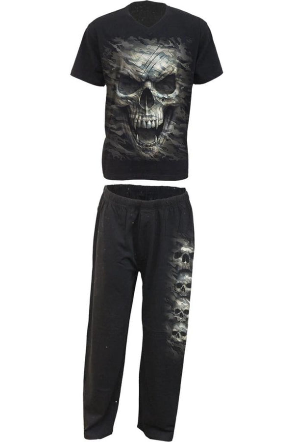 CAMO-SKULL - 4pc Mens Gothic Pyjama Set - MEN UNDERWEAR - NIGEL MARK