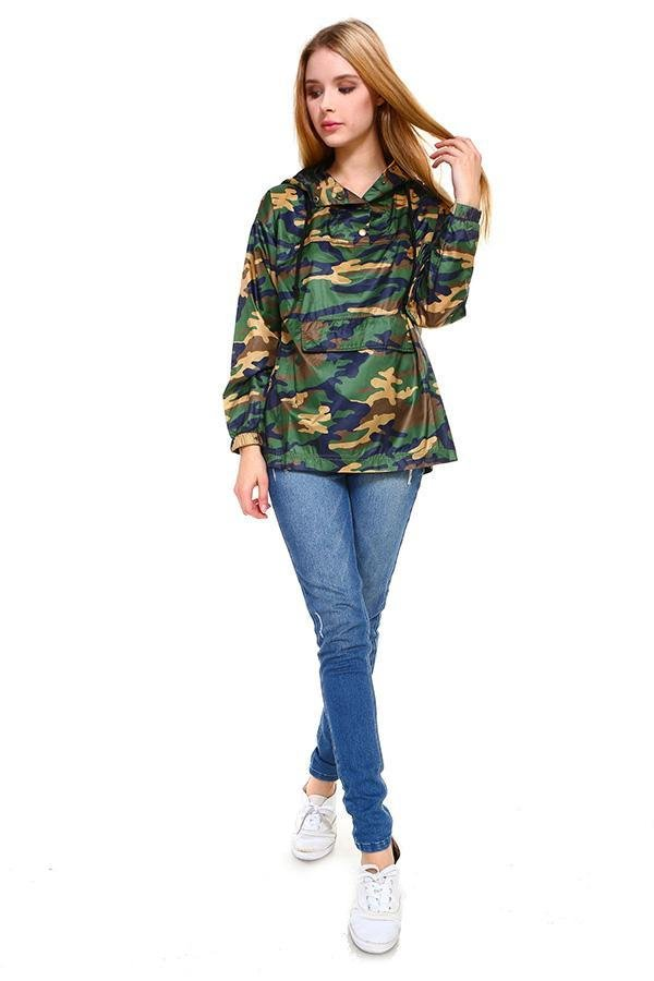 Camouflage Hooded Windbreaker - Women's Clothing - NIGEL MARK