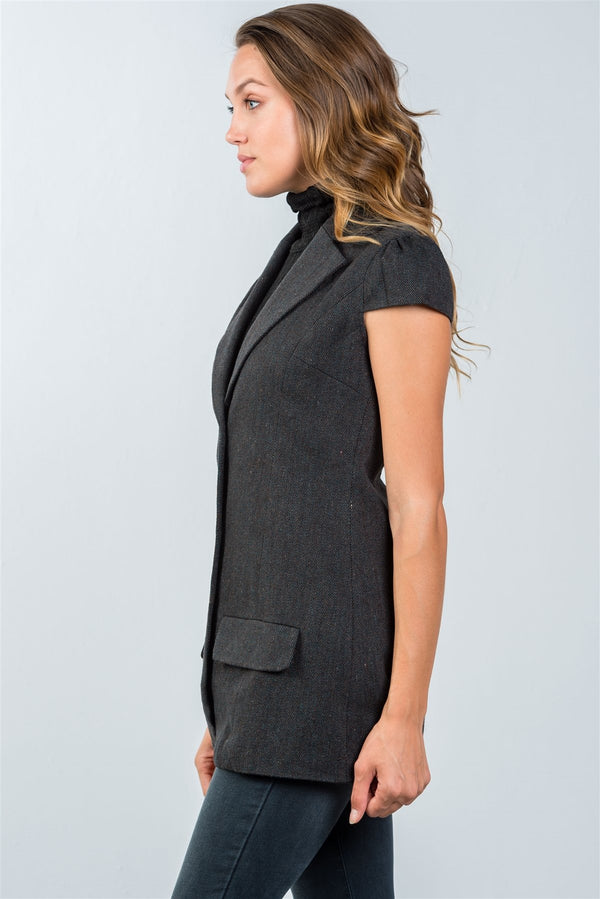 CAP SLEEVE JACKET - NAVY - WOMEN JACKETS - NIGEL MARK
