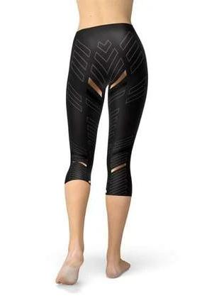 Capri Black Stripes Sport Leggings - BOTTOMS - NIGEL MARK