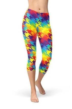 Capri Rainbow Houndstooth Leggings - BOTTOMS - NIGEL MARK