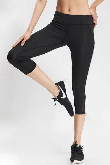 Capri Triple Striped Leggings - WOMEN BOTTOMS - NIGEL MARK