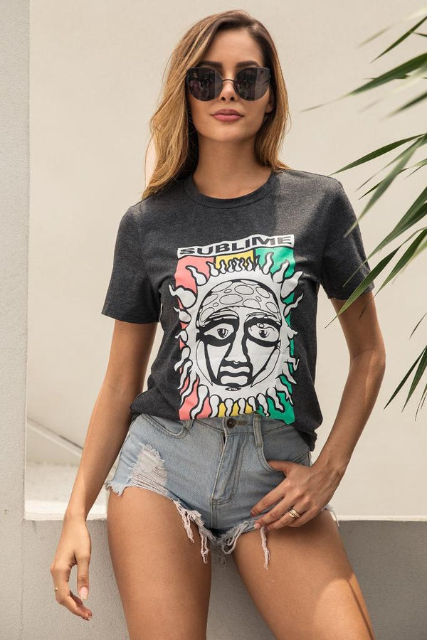 Cartoon Sun Print Tee - WOMEN TOPS - NIGEL MARK
