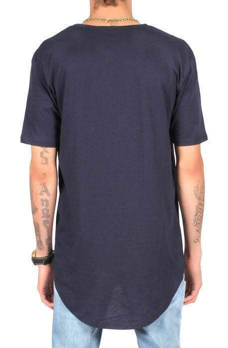 CB Tall Scallop Bottom Tee - Navy - MEN TOPS - NIGEL MARK