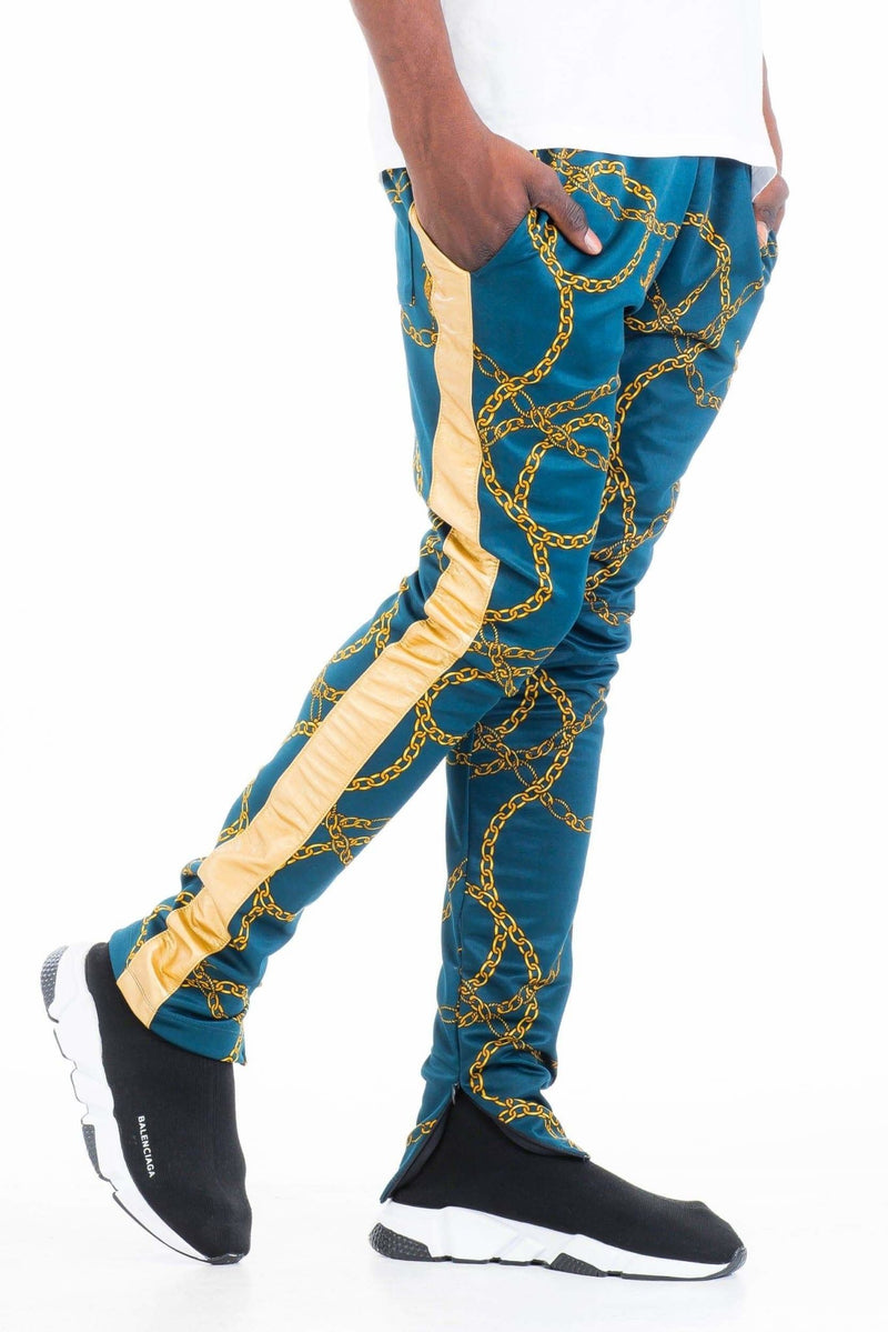 Chain Track Pants - Teal - MEN BOTTOMS - NIGEL MARK