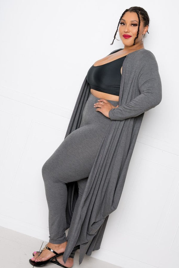 Charcoal Hem Waterfall Cardigan - PLUS TOPS - NIGEL MARK