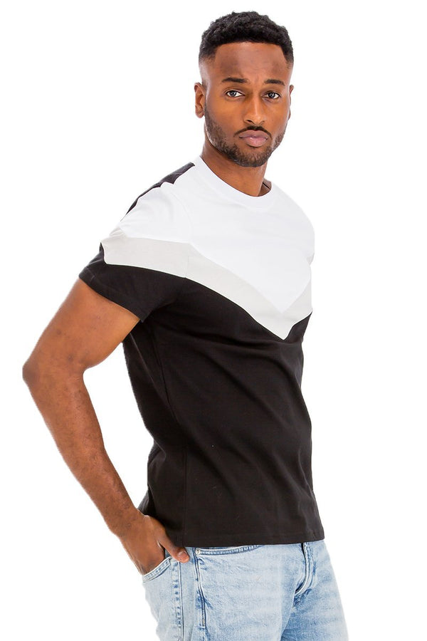 Chevron Colorblock T-Shirt - Men's Clothing - NIGEL MARK