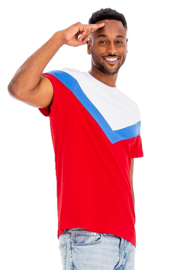 Chevron Colorblock T-Shirt - Red/Blue - Men's Clothing - NIGEL MARK