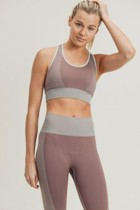 Chevron Track Seamless Hybrid Racerback Sports Bra - ACTIVEWEAR - NIGEL MARK