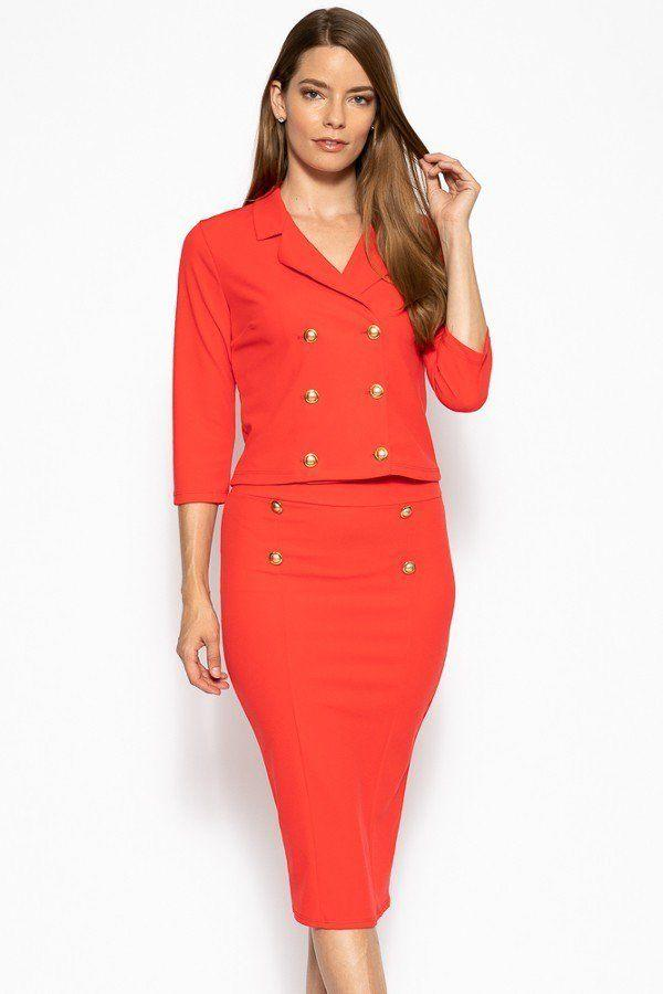 Classic Skirt Suit Set - Bright Red - WOMEN MATCHING SETS - NIGEL MARK