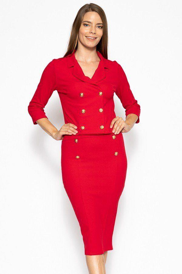 Classic Skirt Suit Set - Red - WOMEN MATCHING SETS - NIGEL MARK