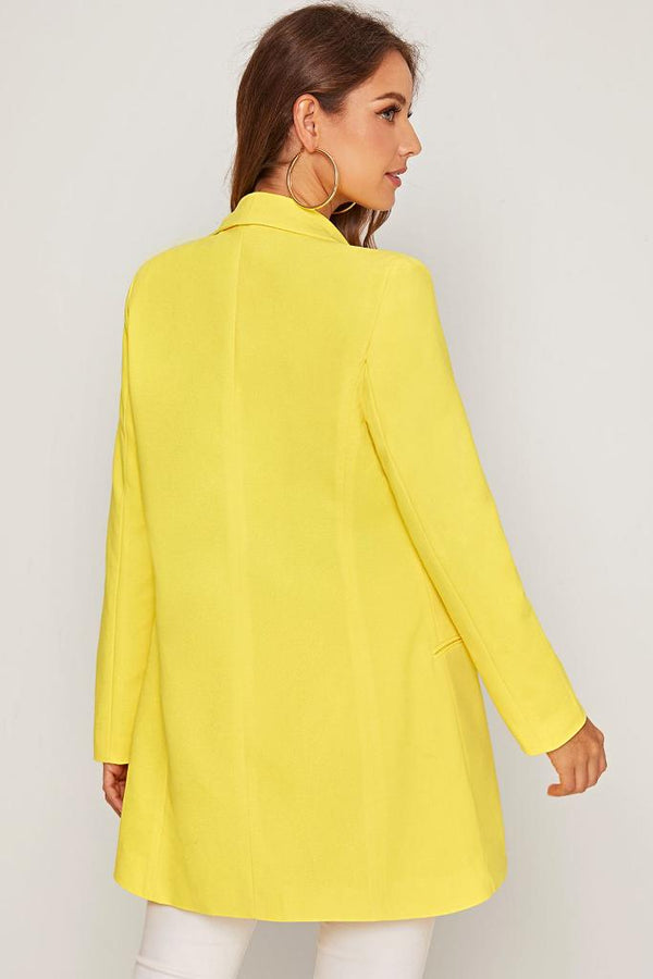 Collar Double Breasted Blazer - Yellow - WOMEN TOPS - NIGEL MARK
