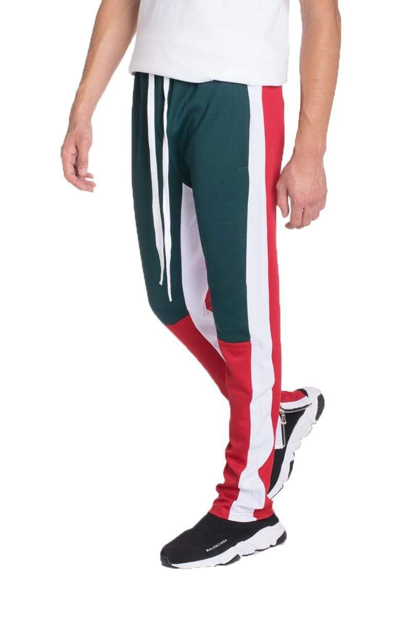 Color Block Track Pants - Green / Red - MEN BOTTOMS - NIGEL MARK