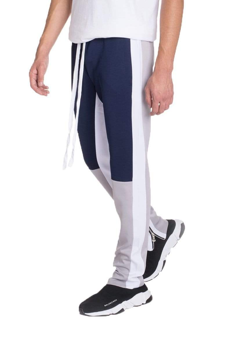 Color Block Track Pants - Navy / Grey - MEN BOTTOMS - NIGEL MARK