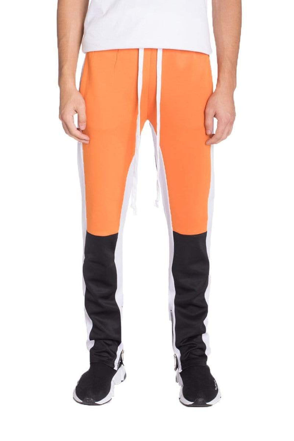 Color Block Track Pants - Orange / Grey - MEN BOTTOMS - NIGEL MARK