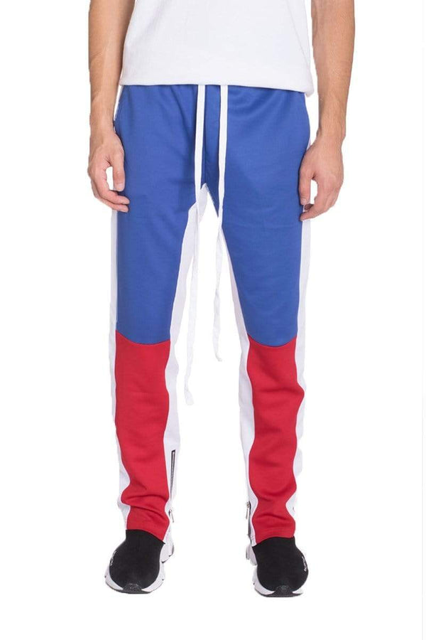 Color Block Track Pants - Royal / Red - MEN BOTTOMS - NIGEL MARK