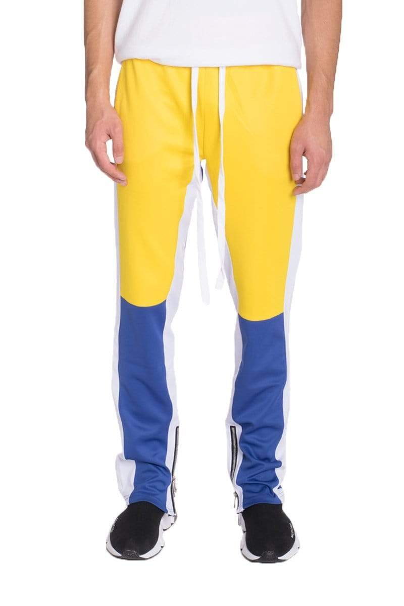 Color Block Track Pants - Yellow / Royal - MEN BOTTOMS - NIGEL MARK