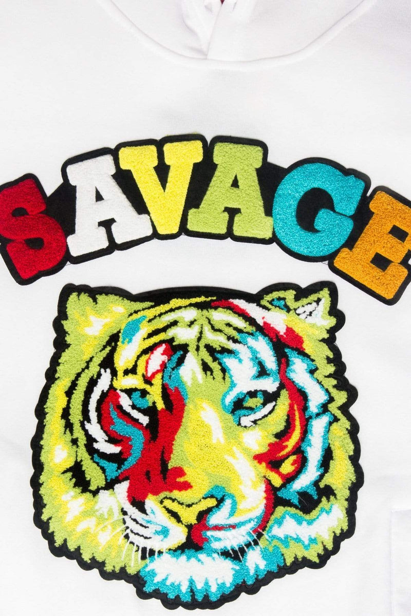 Colorful Chenille Patched Savage Tiger Hoodie - MEN TOPS - NIGEL MARK